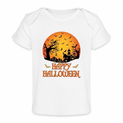 Haunted House Spider Cobweb Bat Crow Moonlit Gourd - Baby Organic T-Shirt