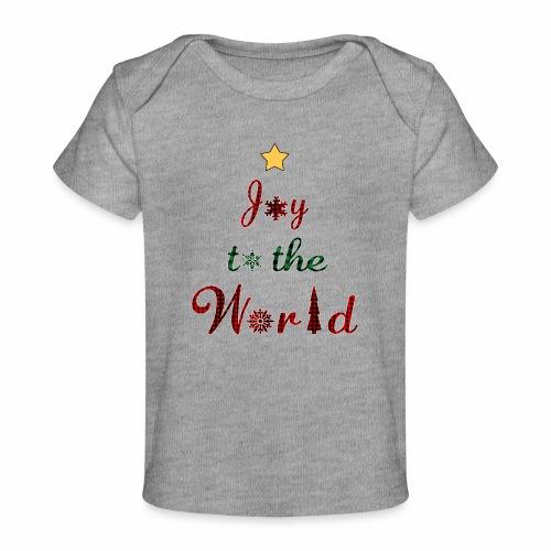 Joy to the world Christmas Tree Star Holiday Plaid - Baby Organic T-Shirt