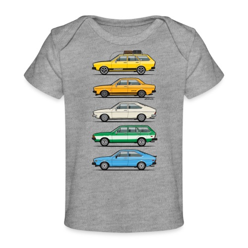 Stack of VAG B1 VDubs and Four Rings - Baby Organic T-Shirt
