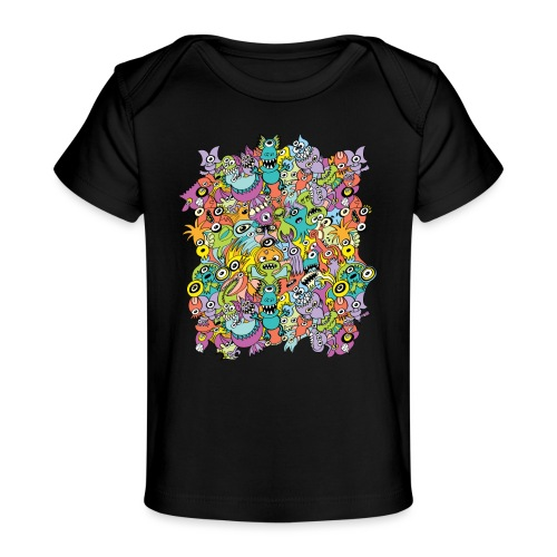Aliens of the universe posing in a pattern design - Baby Organic T-Shirt