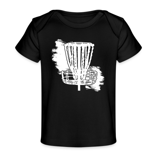 Disc Golf Basket White Print - Baby Organic T-Shirt