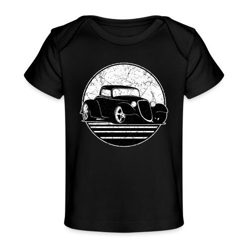 Retro Hot Rod Grungy Sunset Illustration - Baby Organic T-Shirt