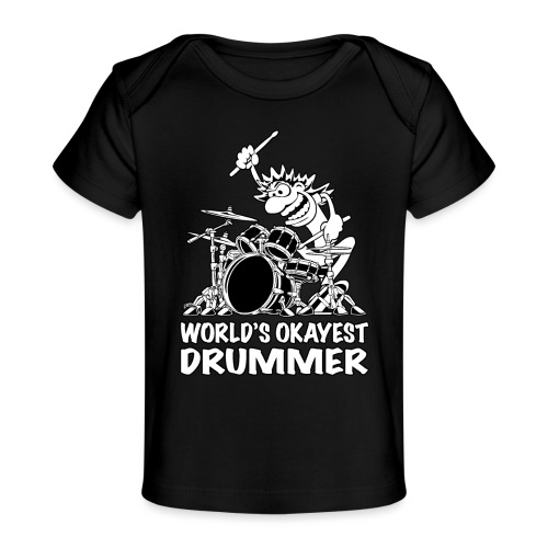 World's Okayest Drummer Cartoon Illustration - Baby Organic T-Shirt