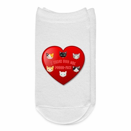 St Valentine Day Purr-fect Heart Alley Cat Pet Pun - Ankle Socks