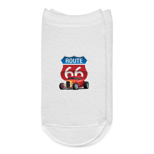 Route 66 Sign with Classic American Red Hotrod - Ankle Socks