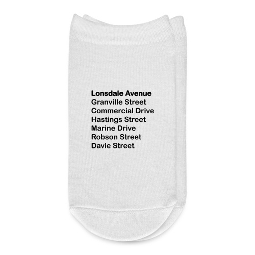 Street Names Black Text - Ankle Socks