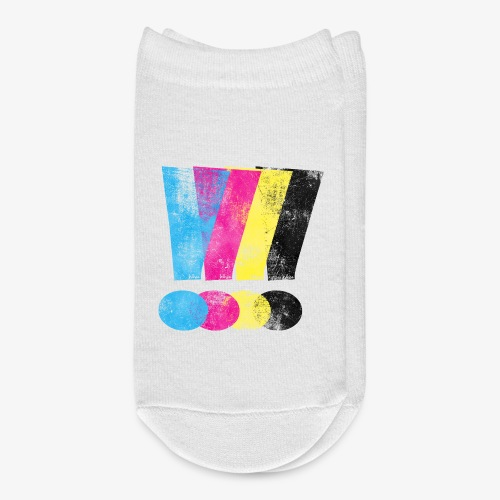 Large Distressed CMYW Exclamation Points - Ankle Socks