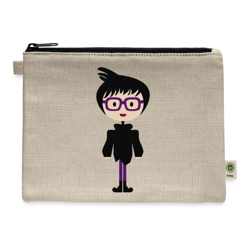Cool Girl w/ Funky Hairdo + Eyeglasses w/ Boots - Carry All Pouch