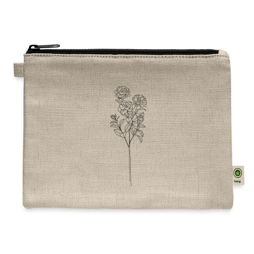 Minimal Floral Line Art Print - Carry All Pouch