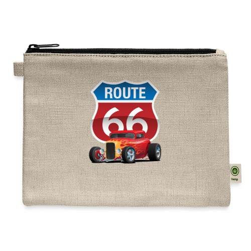Route 66 Sign with Classic American Red Hotrod - Carry All Pouch