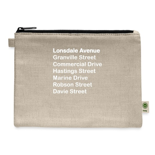 Street Names White Text - Carry All Pouch