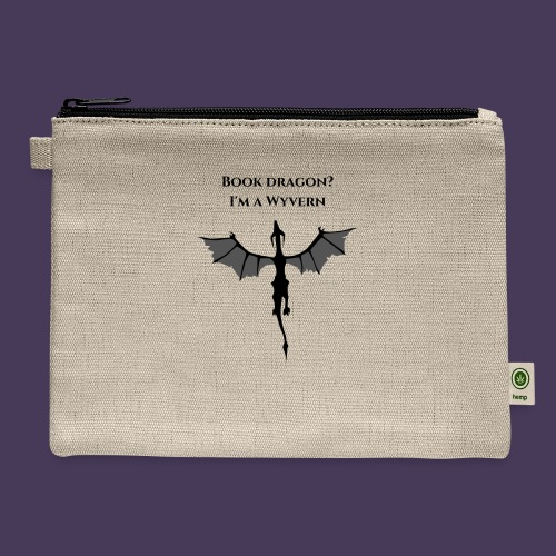 Book Dragon? I'm a Wyvern (black) - Carry All Pouch
