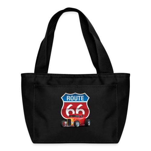 Route 66 Sign with Classic American Red Hotrod - Lunch Bag