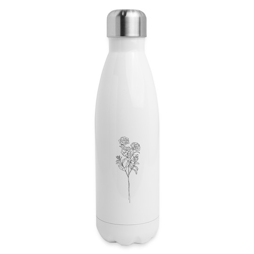 Minimal Floral Line Art Print - Insulated Stainless Steel Water Bottle