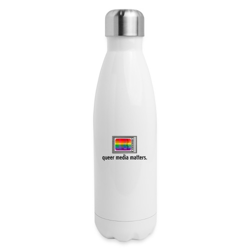 Queer Media Matters TV Logo in Black - Insulated Stainless Steel Water Bottle