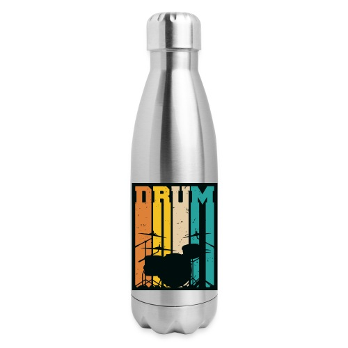 Retro Drum Set Silhouette Illustration - Insulated Stainless Steel Water Bottle
