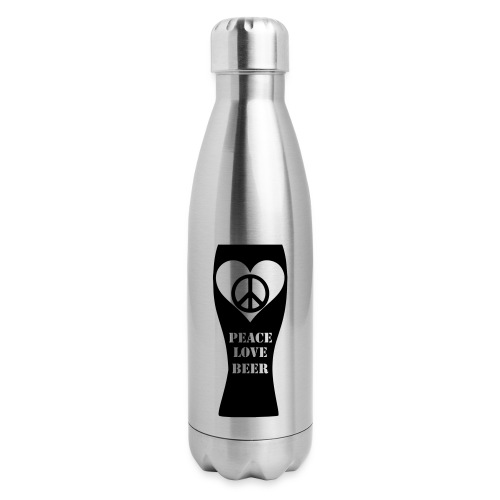 Peace Love Beer (Black) (Vector) - Insulated Stainless Steel Water Bottle