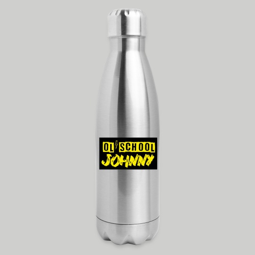 Ol' School Johnny Yellow Text on Black Square - Insulated Stainless Steel Water Bottle