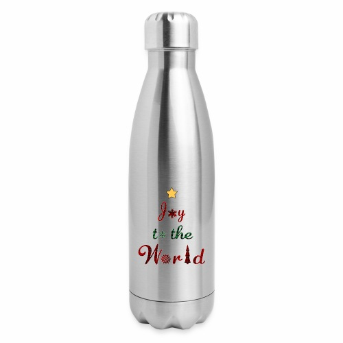 Joy to the world Christmas Tree Star Holiday Plaid - Insulated Stainless Steel Water Bottle