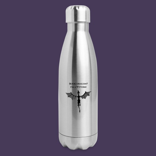 Book Dragon? I'm a Wyvern (black) - Insulated Stainless Steel Water Bottle