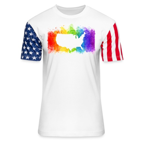 Pride Rainbow Map USA - Unisex Stars & Stripes T-Shirt