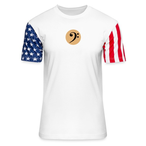 Bass Clef in Circle - Unisex Stars & Stripes T-Shirt