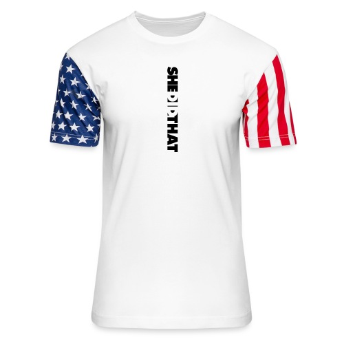 She Did That Large Design - Unisex Stars & Stripes T-Shirt