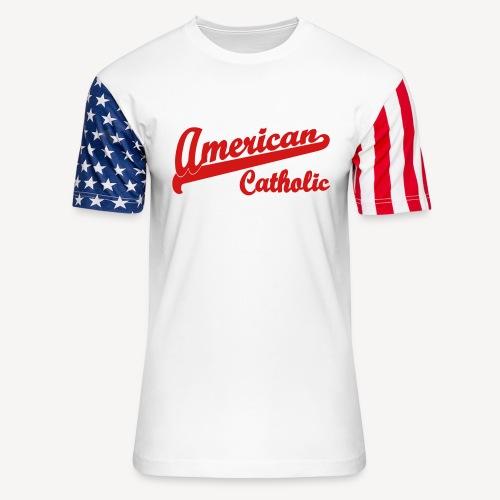 AMERICAN CATHOLIC - Unisex Stars & Stripes T-Shirt