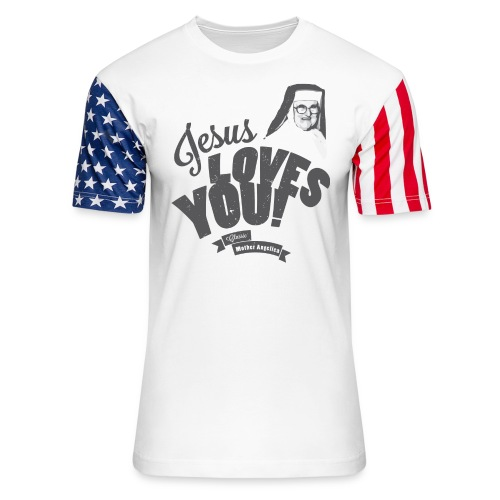Classic Mother Angelica Dark - Unisex Stars & Stripes T-Shirt