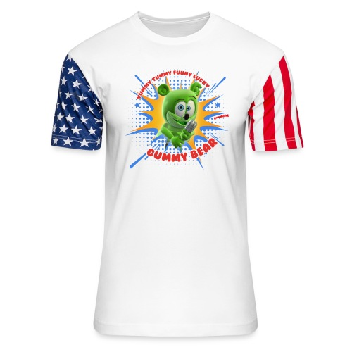 Funny Lucky Gummy Bear - Unisex Stars & Stripes T-Shirt