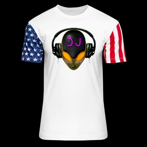 Alien DJ - Orange - Hard Shell Bug - Unisex Stars & Stripes T-Shirt