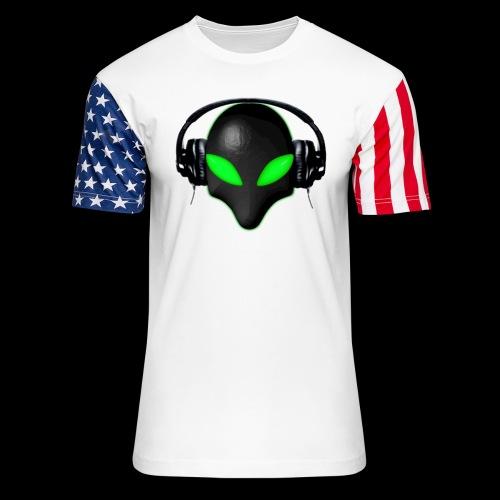 Alien Bug Face Green Eyes in DJ Headphones - Unisex Stars & Stripes T-Shirt