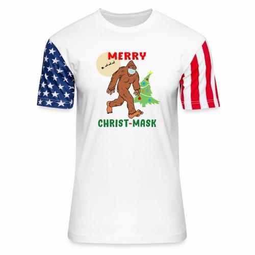 Merry Christmask Sasquatch Mask Social Distance. - Unisex Stars & Stripes T-Shirt