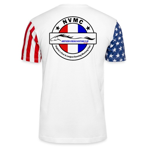 Circle logo t-shirt on white with black border - Unisex Stars & Stripes T-Shirt