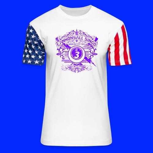 Vintage Cannonball Bingo Crest Purple - Unisex Stars & Stripes T-Shirt