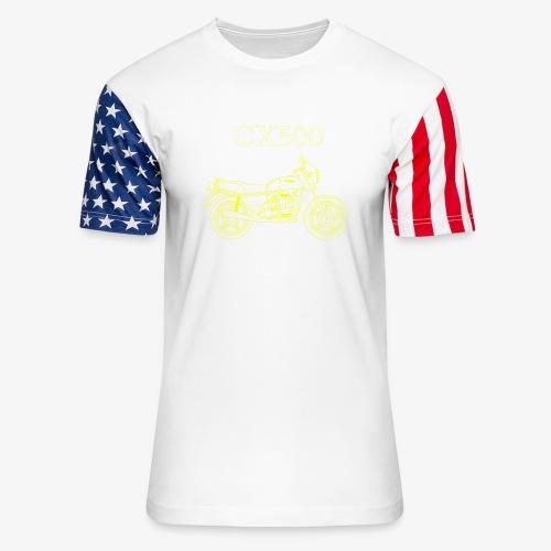 CX500 line drawing - Unisex Stars & Stripes T-Shirt