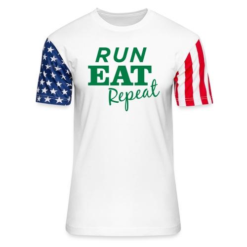 Run Eat Repeat buttons medium - Unisex Stars & Stripes T-Shirt
