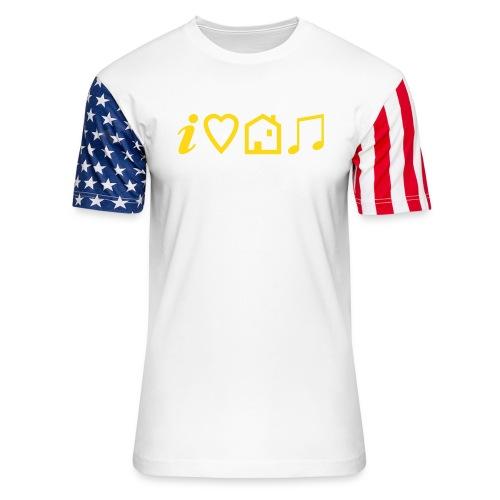 I Heart House Music - Symbolic Design 1 - Unisex Stars & Stripes T-Shirt