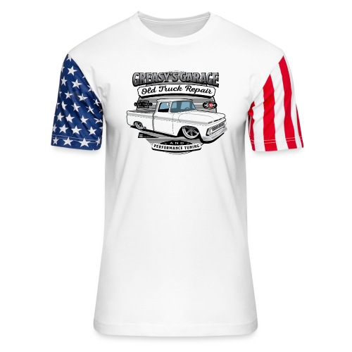 Greasy's Garage Old Truck Repair - Unisex Stars & Stripes T-Shirt
