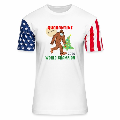 Quarantine World Champion Sasquatch Mask Christmas - Unisex Stars & Stripes T-Shirt