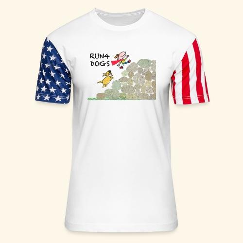 Dog chasing kid - Unisex Stars & Stripes T-Shirt