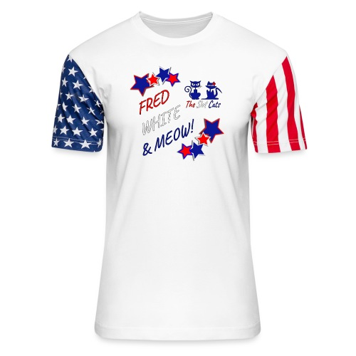 FRED WHITE BLUE SLOTCATS - Unisex Stars & Stripes T-Shirt