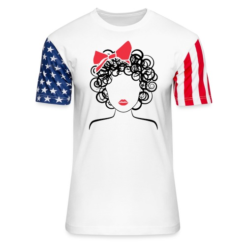 Coily Girl with Red Bow_Global Couture_logo Long S - Unisex Stars & Stripes T-Shirt