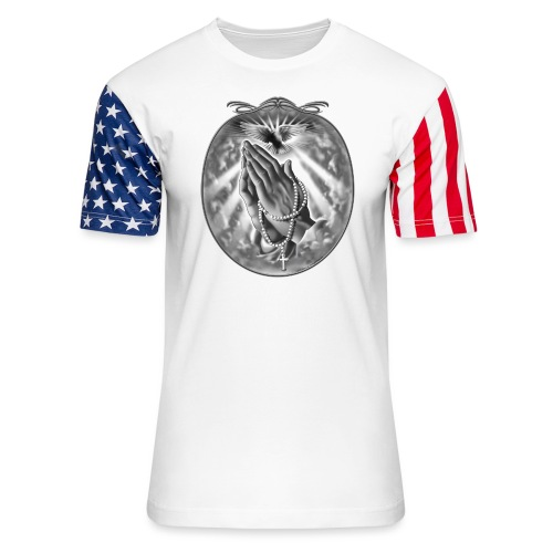 Praying Hands by RollinLow - Unisex Stars & Stripes T-Shirt