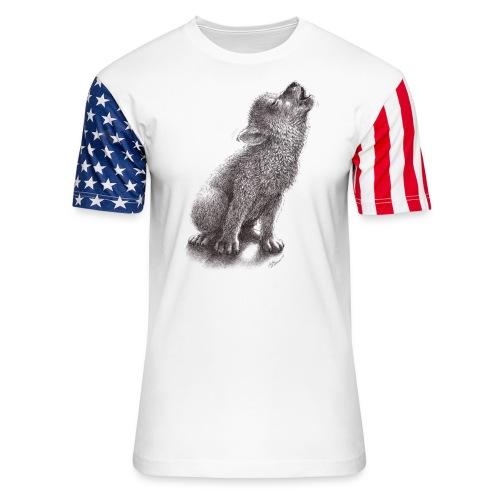 Little Howling Wolf - Unisex Stars & Stripes T-Shirt