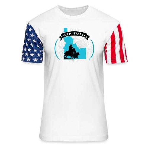 Turquose Sunburst Logo - Unisex Stars & Stripes T-Shirt