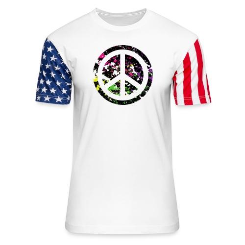 Transparent Peace Symbol on Multicolor Background - Unisex Stars & Stripes T-Shirt