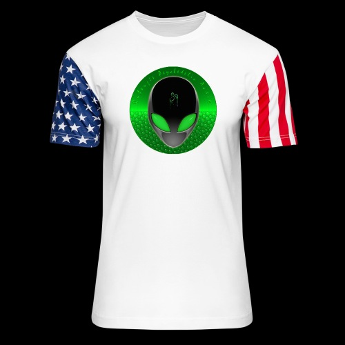 Psychedelic Alien Dolphin Green Cetacean Inspired - Unisex Stars & Stripes T-Shirt