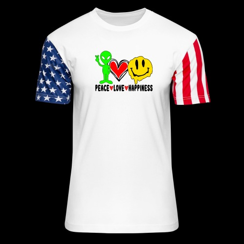 Peace Love Happpiness - Unisex Stars & Stripes T-Shirt