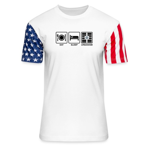 Eat Sleep Urb big fork-LG - Unisex Stars & Stripes T-Shirt